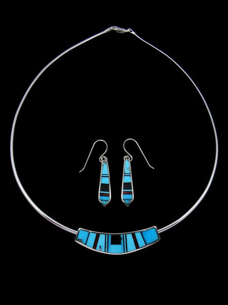 Navajo Onyx and Turquoise Inlay Choker and Earrings Set