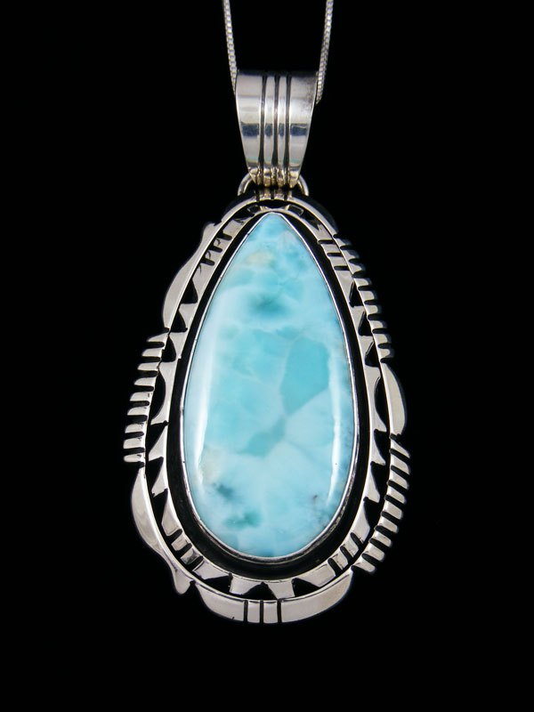 Native American Sterling Silver Blue Larimar Pendant