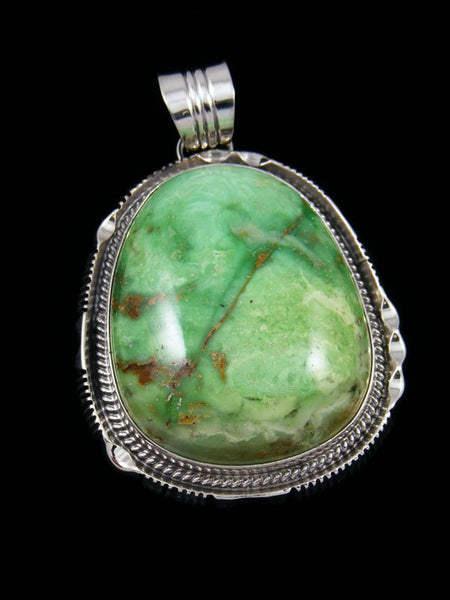 Native American Sterling Silver Green Variscite Pendant