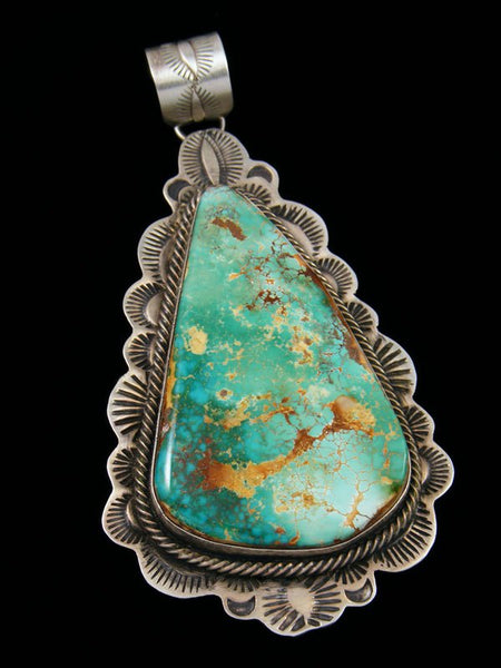 Large Navajo Royston Turquoise Sterling Silver Pendant