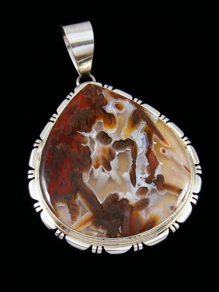 Native American Turkish Tube Agate Sterling Silver Pendant