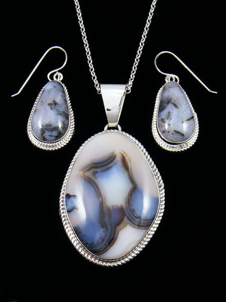 Native American Sterling Silver Montana Agate Necklace Set