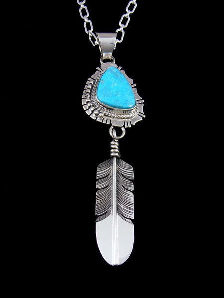 Native American Indian Jewelry Kingman Turquoise Feather Pendant