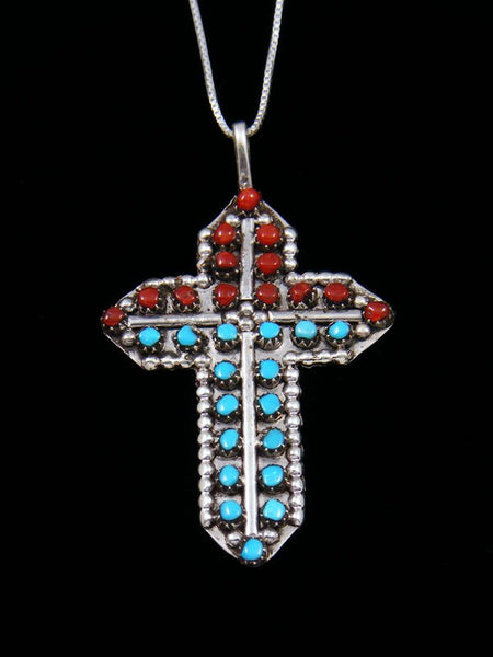 Sterling Silver Zuni Turquoise and Coral Cross Pendant