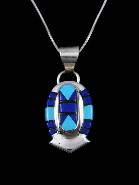 Native American Zuni Turquoise and Lapis Inlay Pendant