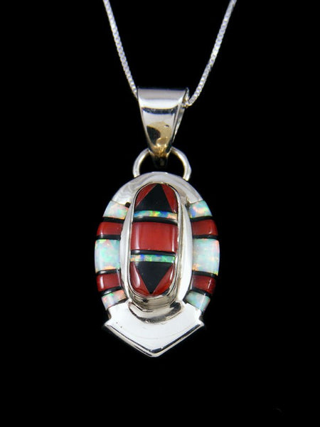 Native American Coral Zuni Inlay Pendant