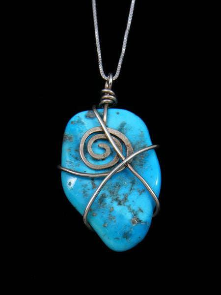 Sculpted Sterling Silver Turquoise Pendant