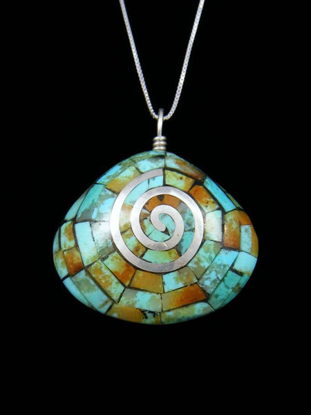Native American Indian Jewelry Turquoise Mosaic Inlay Pendant