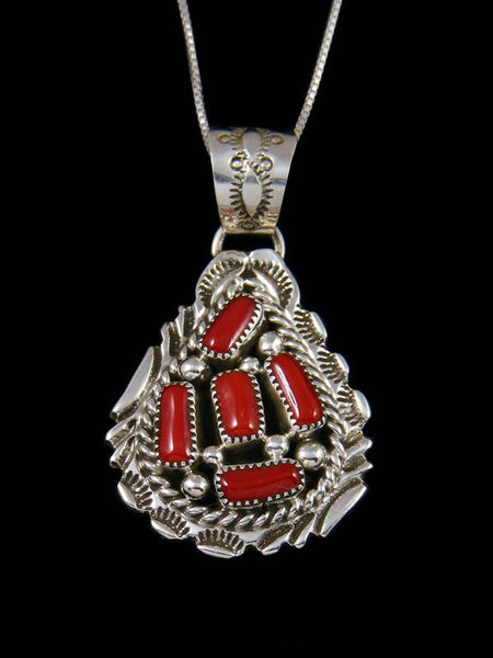Native American Necklace Sterling Silver Coral Pendant