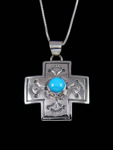 Navajo Sterling Silver Turquoise Cross Pendant