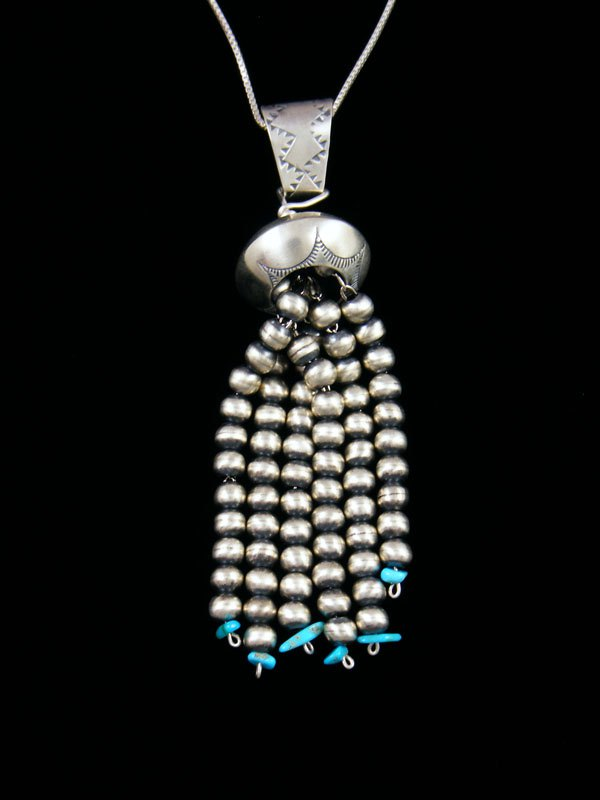 Navajo Sterling Silver Turquoise Beaded Dangle Pendant