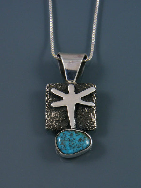 Navajo Sterling Silver and Turquoise Petroglyph Pendant