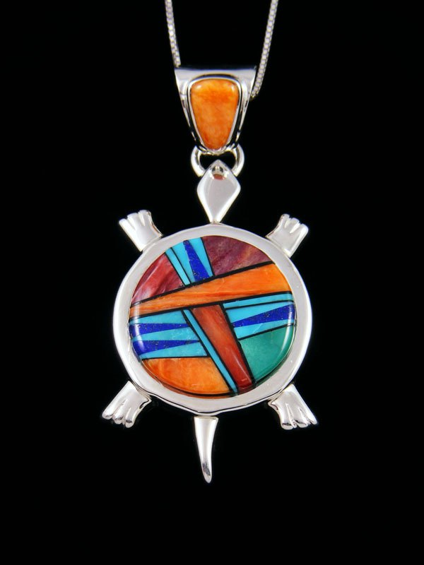 Navajo Spiny Oyster and Turquoise Turtle Inlay Pendant