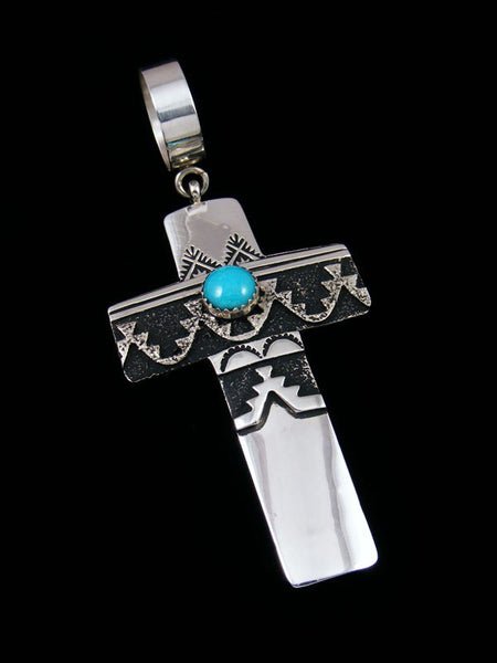Native American Sterling Silver Overlay Turquoise Cross Pendant