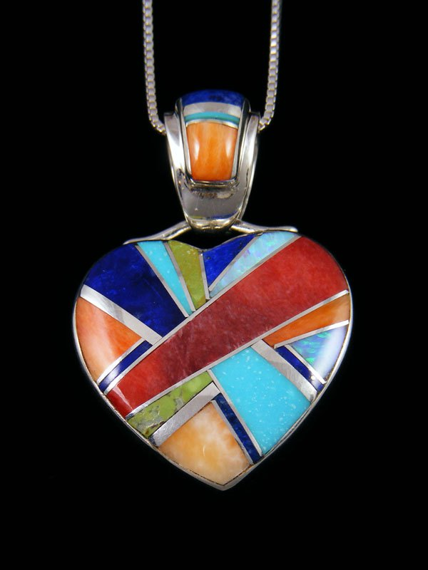 Navajo Inlay Turquoise and Spiny Oyster Heart Pendant