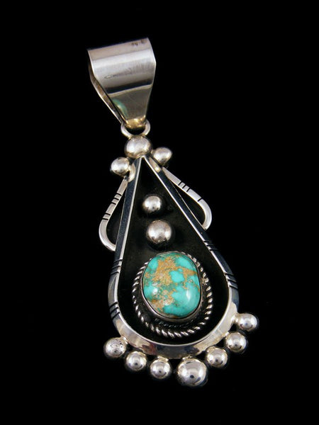 Sterling Silver Turquoise Navajo Sculpted Droplet Pendant