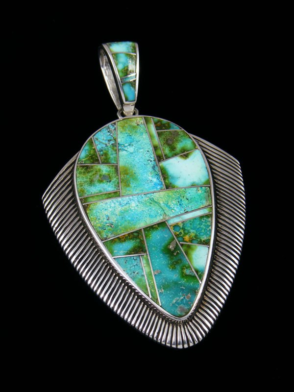 Native American Indian Jewelry Sonoran Gold Turquoise Inlay Pendant