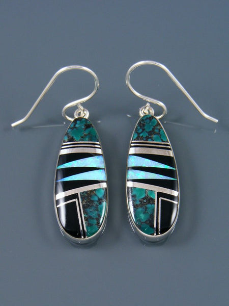 Native American Sterling Silver Turquoise Inlay Earrings