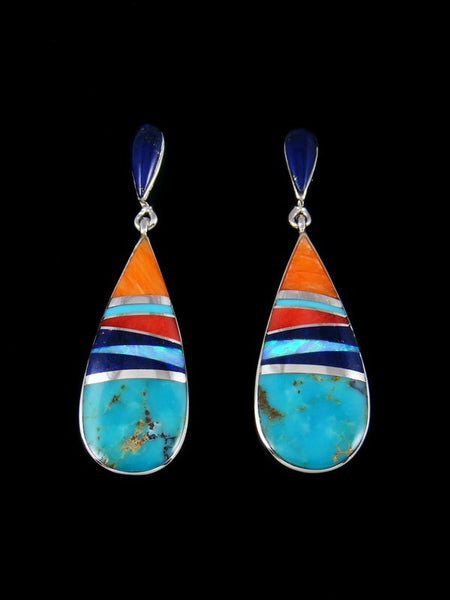 Native American Sterling Silver Turquoise Inlay Post Earrings