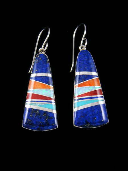 Native American Sterling Silver Lapis Inlay Dangle Earrings