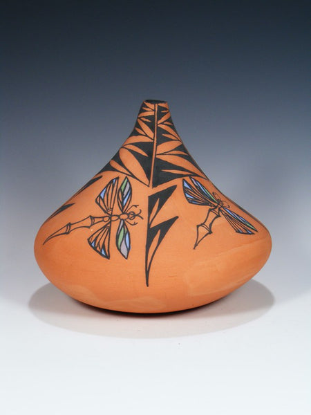 Acoma Pueblo Pottery Hand Painted Red Clay Seed Pot