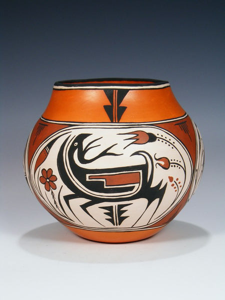Acoma Pueblo Hand Coiled Deer and Bear Pottery Bowl