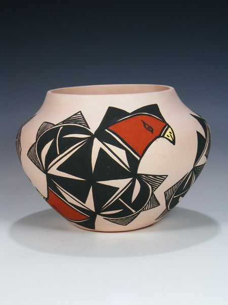 Acoma Pueblo Hand Coiled Parrot Pottery Bowl