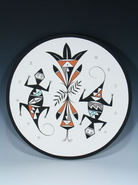 Acoma Pueblo Pottery Lizard Painted Plate