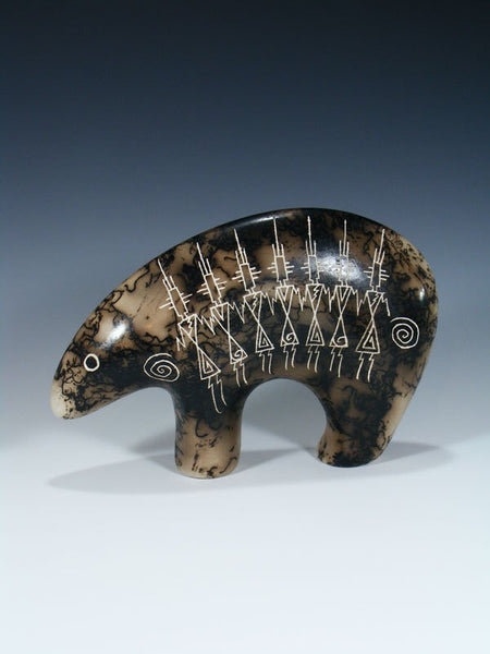 Horsehair Etched Pottery Bear
