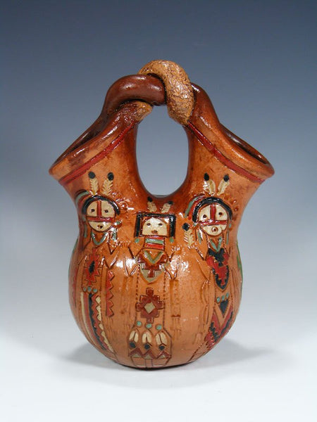 Navajo Hand Coiled Pine Pitch Carved Wedding Vase