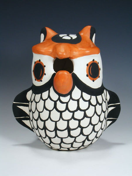 Acoma Pueblo Hand Coiled Pottery Owl