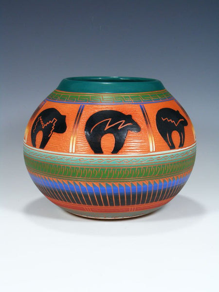 Navajo Etched Bear Pottery