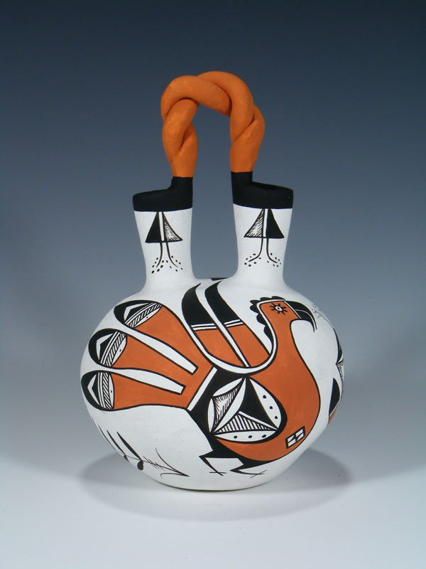 Acoma Pueblo Pottery Painted Hand Coiled Wedding Vase