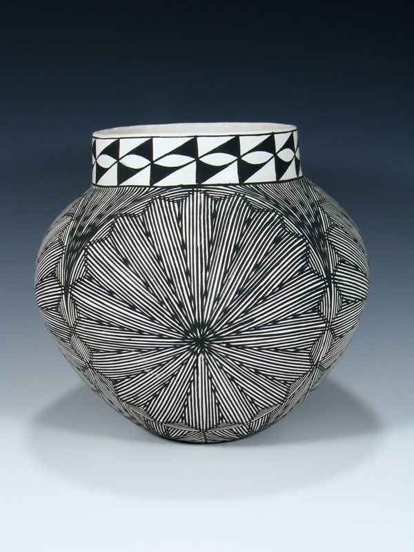 Hand Coiled Acoma Pueblo Pottery Bowl