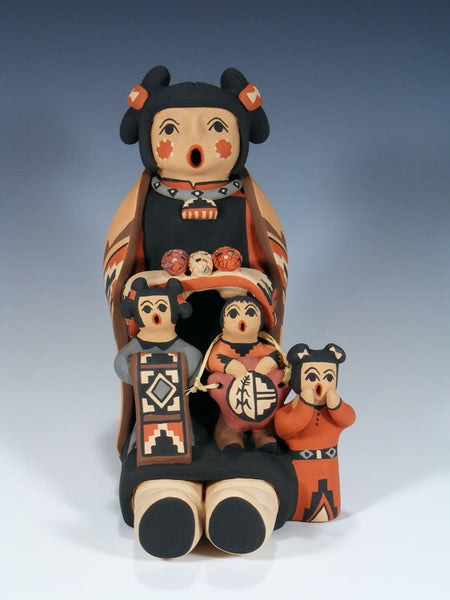 Jemez Pueblo Pottery 3 Child Storyteller Doll