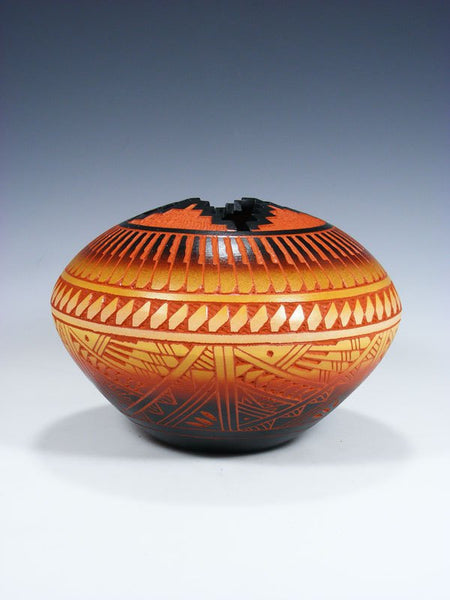 Acoma Pueblo Etched Pottery Seed Pot
