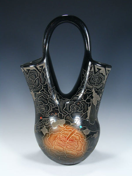 Santa Clara Pueblo Hand Coiled Black Pottery Wedding Vase