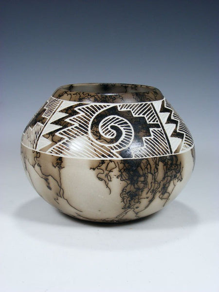 Acoma Etched Horsehair Pottery Bowl