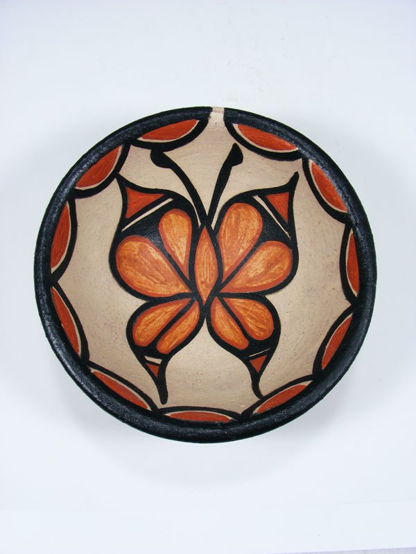 Santo Domingo Pueblo Butterfly Pottery Bowl