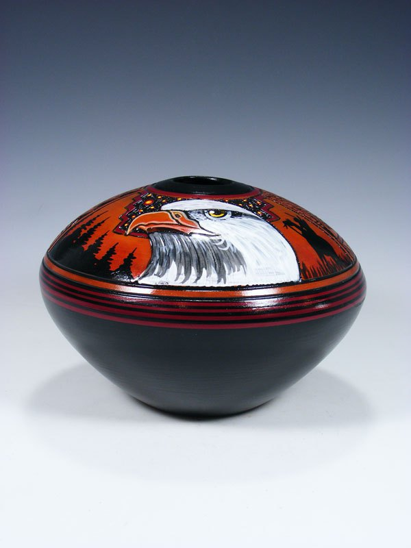 Navajo Etched Pottery Eagle Seed Pot