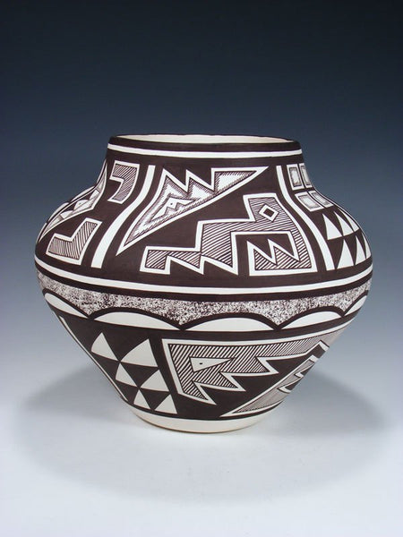 Acoma Style Hand Painted Mimbres Design Pottery