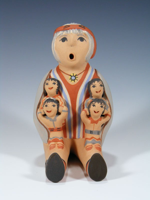 Jemez Pueblo Male 4 Child Storyteller Doll