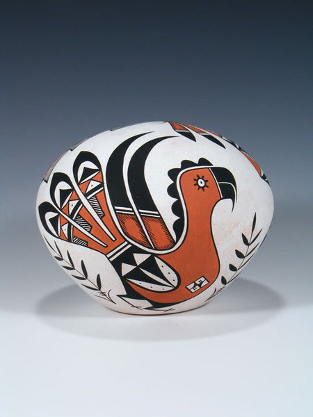 Acoma Pueblo Hand Coiled Pottery Parrot Seed Pot