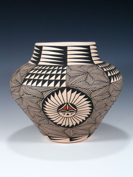 Acoma Pueblo Hand Coiled Pottery Sunface Olla
