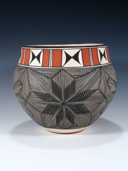 Acoma Hand Coiled Pueblo Pottery Bowl