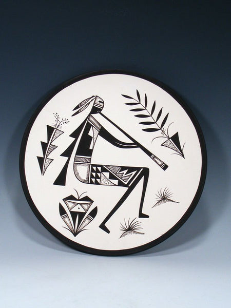 Acoma Pueblo Style Flute Player Painted Plate