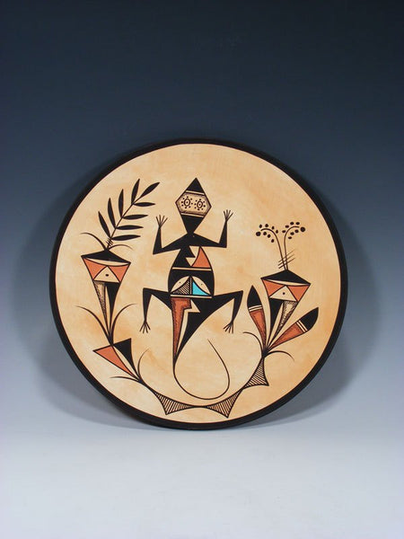 Acoma Pueblo Style Lizard Painted Plate