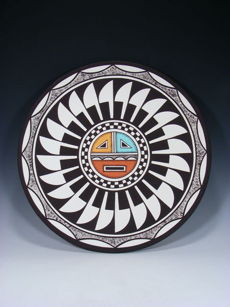 Acoma Pueblo Style Sunface Painted Plate