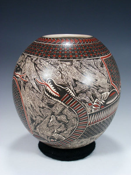 Mata Ortiz Hand Coiled Paquime Snake Pottery