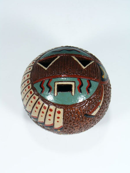 Navajo Hand Coiled Pine Pitch Carved Pottery Sunface Seed Pot
